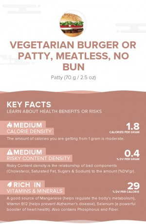 Vegetarian burger or patty, meatless, no bun