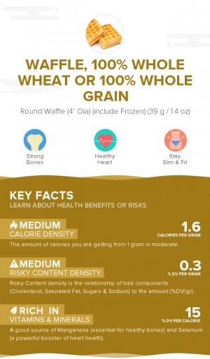 Waffle, 100% whole wheat or 100% whole grain