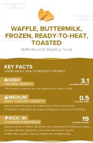Waffle, buttermilk, frozen, ready-to-heat, toasted