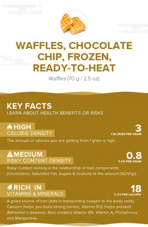 Waffles, chocolate chip, frozen, ready-to-heat