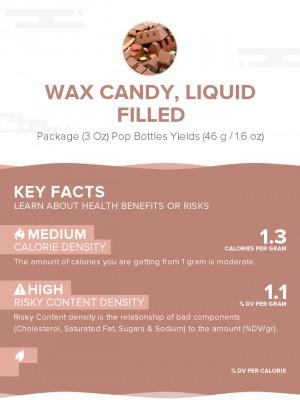 Wax candy, liquid filled