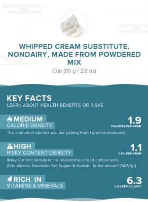 Whipped cream substitute, nondairy, made from powdered mix