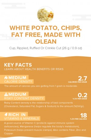 White potato, chips, fat free, made with Olean