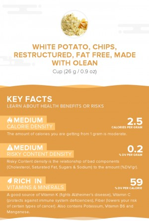 White potato, chips, restructured, fat free, made with Olean