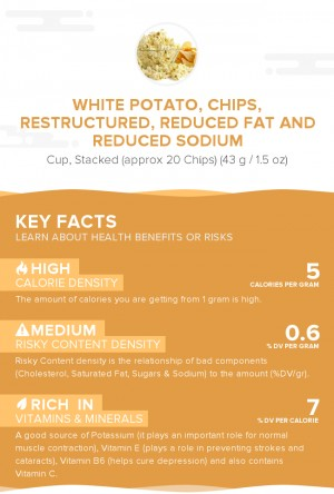 White potato, chips, restructured, reduced fat and reduced sodium