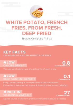 White potato, french fries, from fresh, deep fried