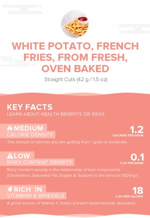 White potato, french fries, from fresh, oven baked