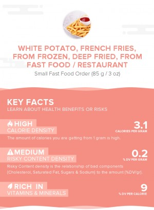 White potato, french fries, from frozen, deep fried, from fast food / restaurant
