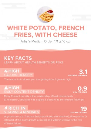 White potato, french fries, with cheese