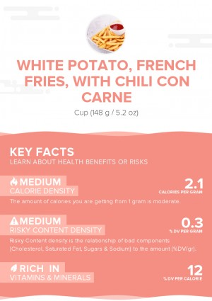 White potato, french fries, with chili con carne