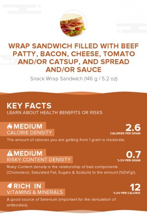Wrap sandwich filled with beef patty, bacon, cheese, tomato and/or catsup, and spread and/or sauce