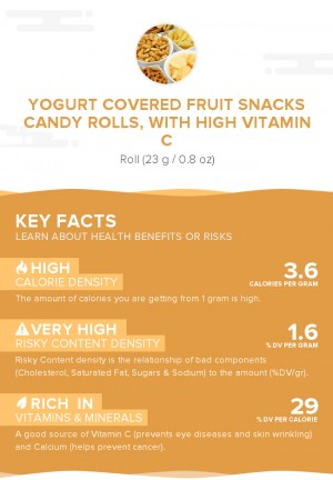 Yogurt covered fruit snacks candy rolls, with high vitamin C