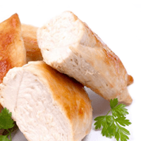 Chicken or turkey loaf, prepackaged or deli, luncheon meat