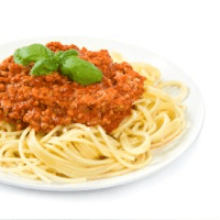 Spaghetti sauce with beef or meat other than lamb or mutton, homemade-style